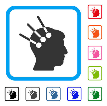 Neural Interface icon. Flat gray iconic symbol inside a light blue rounded rectangle. Black, gray, green, blue, red, orange color variants of Neural Interface vector. Illustration