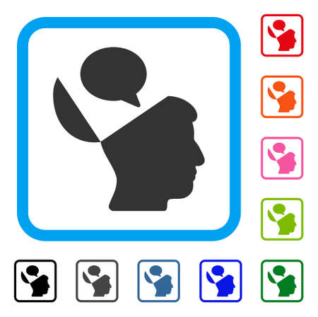 Open Mind Opinion icon. Flat gray iconic symbol in a light blue rounded rectangle. Black, gray, green, blue, red, orange color variants of Open Mind Opinion vector.