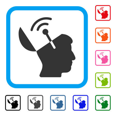 Open Mind Radio Interface icon. Flat grey pictogram symbol inside a light blue rounded square. Black, gray, green, blue, red, orange color variants of Open Mind Radio Interface vector.