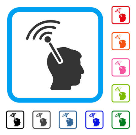 Radio Neural Interface icon. Flat gray pictogram symbol inside a light blue rounded square. Black, gray, green, blue, red, orange color versions of Radio Neural Interface vector.