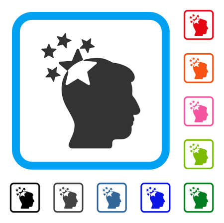 ruch: Stars Hit Head icon. Flat gray iconic symbol inside a light blue rounded rectangle. Black, gray, green, blue, red, orange color versions of Stars Hit Head vector. Illustration