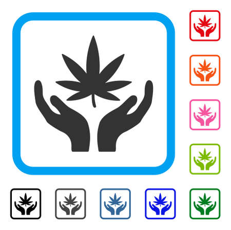Cannabis Care icon. Flat gray iconic symbol in a light blue rounded squared frame. Black, gray, green, blue, red, orange color versions of Cannabis Care vector. Designed for web and app interfaces.