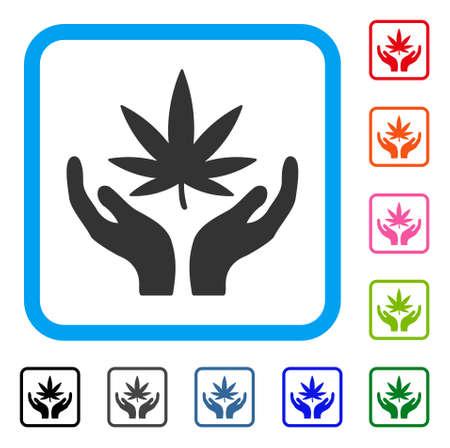 Cannabispflege-Symbol. Flaches graues ikonenhaftes Symbol in einem hellblauen gerundeten quadratischen Rahmen. Schwarze, graue, grüne, blaue, rote, orangefarbene Versionen von Cannabispflegevektor. Entwickelt für Web- und App-Schnittstellen. Standard-Bild - 88102714