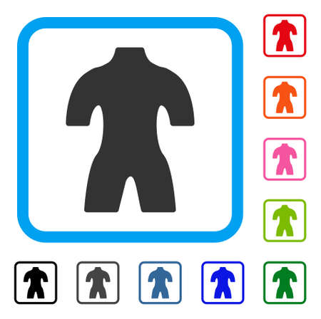 Body icon. Flat grey pictogram symbol in a light blue rounded rectangular frame. Black, gray, green, blue, red, orange color additional versions of Body vector. Designed for web and app interfaces. 向量圖像