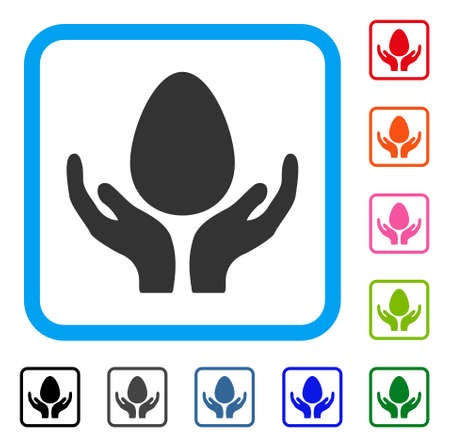Egg Incubator Hands icon. Flat gray pictogram symbol in a light blue rounded frame. Black, gray, green, blue, red, orange color additional versions of Egg Incubator Hands vector. Illustration