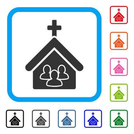 Church People icon. Flat gray iconic symbol in a light blue rounded rectangle. Black, gray, green, blue, red, orange color variants of Church People vector. Designed for web and app UI. Çizim