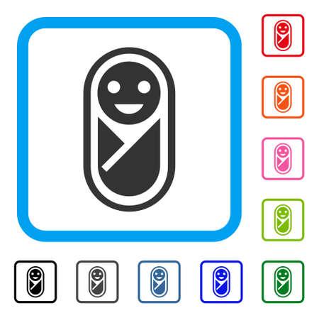 Infant icon. Flat grey pictogram symbol inside a light blue rounded square. Black, gray, green, blue, red, orange color versions of Infant vector. Designed for web and application UI. Illustration
