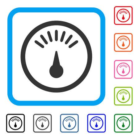 미터 아이콘입니다. 연한 파란색에서 플랫 회색 아이코 닉 기호 둥근 된 제곱 된 프레임. 미터 벡터의 검정, 회색, 녹색, 파란색, 빨간색, 주황색 버전. 웹 및 소프트웨어 인터페이스 용으로 설계되었습니다.
