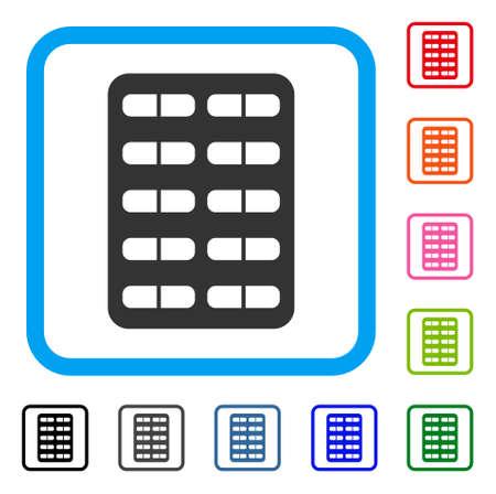 Pil Blister pictogram. Vlak grijs iconisch symbool in een lichtblauw rond gemaakt frame. Zwart, grijs, groen, blauw, rood, oranje kleur extra versies van Pill Blister vector. Ontworpen voor web- en app-interfaces.
