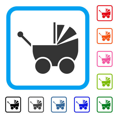 Pram icon. Flat gray iconic symbol in a light blue rounded square. Black, gray, green, blue, red, orange color versions of Pram vector. Designed for web and app UI. Vektorové ilustrace