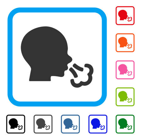 Sneezing icon. Flat grey pictogram symbol in a light blue rounded squared frame.