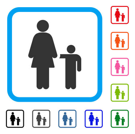 Mother with son icon. Flat grey iconic symbol inside a light blue rounded rectangle.