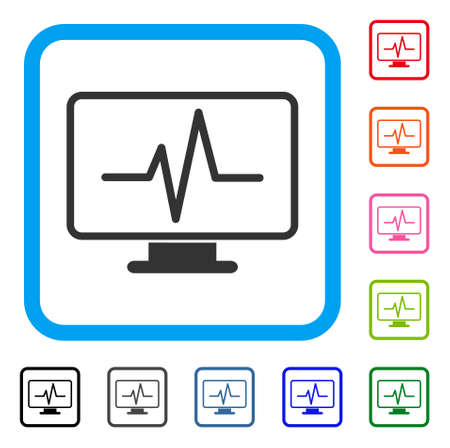 Pulse Monitoring icon. Flat grey iconic symbol inside a light blue rounded frame. Black, gray, green, blue, red, orange color variants of Pulse Monitoring vector. Designed for web and app interfaces.