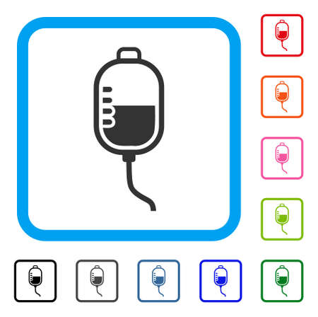 Therapy Dropper icon. Flat gray pictogram symbol in a light blue rounded squared frame. Black, gray, green, blue, red, orange color variants of Therapy Dropper vector.