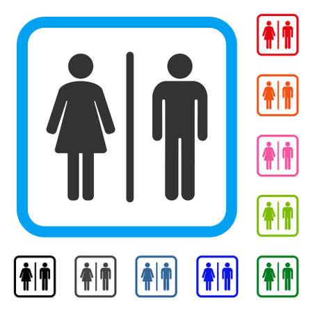 トイレのアイコン。光青角丸四角形の内部のフラット グレーの象徴的なシンボルです。トイレ ベクトルの黒、グレー、緑、青、赤、オレンジ色のバ  イラスト・ベクター素材