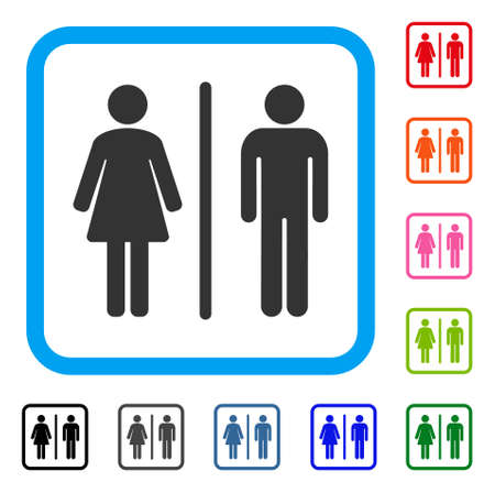 Toilets icon. Flat grey iconic symbol inside a light blue rounded rectangle. Black, gray, green, blue, red, orange color versions of Toilets vector. Designed for web and application interfaces. Illustration