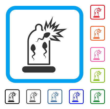 Condom Sperm Damage icon. Flat grey iconic symbol in a light blue rounded square. Black, gray, green, blue, red, orange color variants of Condom Sperm Damage vector.