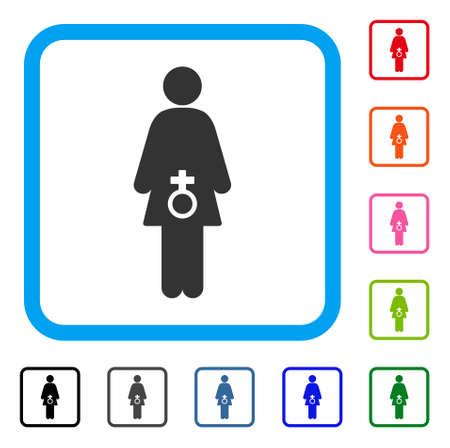 여성 성적 장애 아이콘입니다. 밝은 파란색 둥근 사각형 프레임 안에 평면 회색 픽토그램 기호. 여성 성적 장애 벡터의 검정, 회색, 녹색, 파랑, 빨강,
