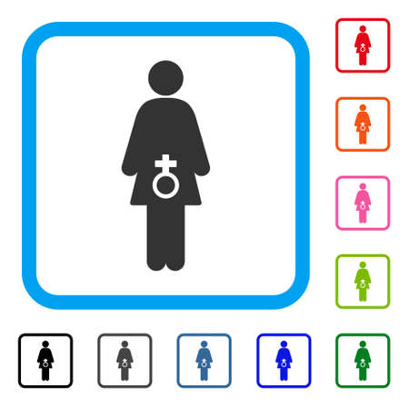 Female Sexual Disfunction icon. Flat gray pictogram symbol inside a light blue rounded rectangular frame. Black, gray, green, blue, red, orange color variants of Female Sexual Disfunction vector. Ilustrace