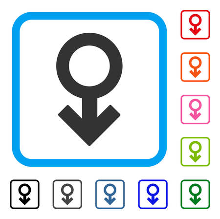 Impotence Symbol icon. Flat gray iconic symbol inside a light blue rounded rectangle. Black, gray, green, blue, red, orange color additional versions of Impotence Symbol vector. Illustration