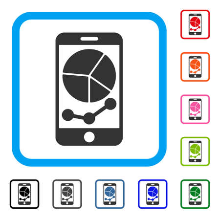 Mobile Graphs Icon Flat Grey Iconic Symbol In A Light Blue Rounded