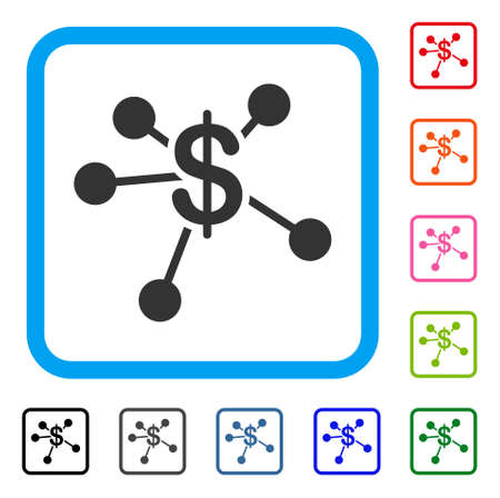 Money Emission icon. Flat gray iconic symbol in a light blue rounded square. Black, gray, green, blue, red, orange color versions of Money Emission vector.
