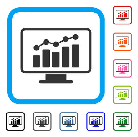 Monitoring icon. Flat gray iconic symbol inside a light blue rounded frame. Black, gray, green, blue, red, orange color variants of Monitoring vector. Designed for web and app interfaces.