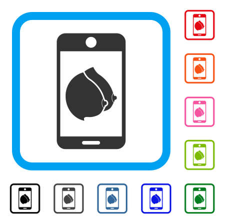 Mobile Erotic Tits icon. Flat gray iconic symbol in a light blue rounded rectangle. Black, gray, green, blue, red, orange color additional versions of Mobile Erotic Tits vector.
