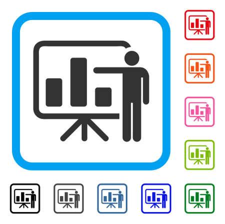 Bar Chart Presentation icon. Flat grey pictogram symbol inside a light blue rounded frame. Black, gray, green, blue, red, orange color additional versions of Bar Chart Presentation vector.