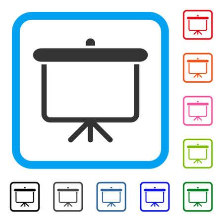 投影板のアイコン。光青角丸四角形の象徴的なシンボルをフラット グレー.  イラスト・ベクター素材