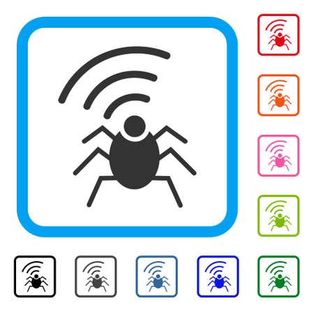 Radio Spy Bug icon symbol inside a light blue rounded squared frame design illustration. Banco de Imagens - 88139077