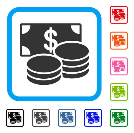Dollar Cash icon. Flat gray iconic symbol in a light blue rounded rectangle. Black, gray, green, blue, red, orange color additional versions of Dollar Cash vector. Designed for web and application UI.