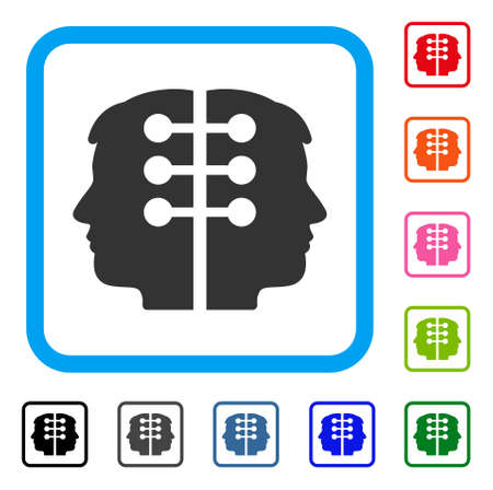 Dual Head Interface icon. Flat gray pictogram symbol in a light blue rounded rectangle. Black, gray, green, blue, red, orange color variants of Dual Head Interface vector. Illustration