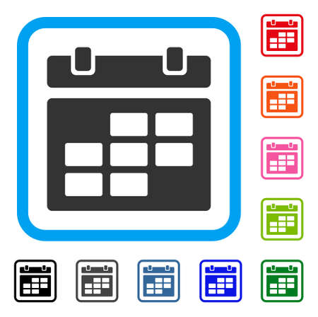 Calendar icon. Flat grey iconic symbol in a light blue rounded square.