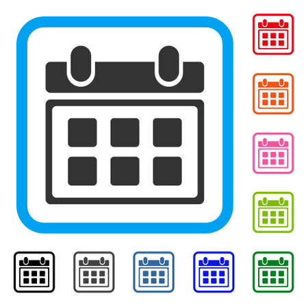Calendar icon. Flat gray pictogram symbol in a light blue rounded squared frame.