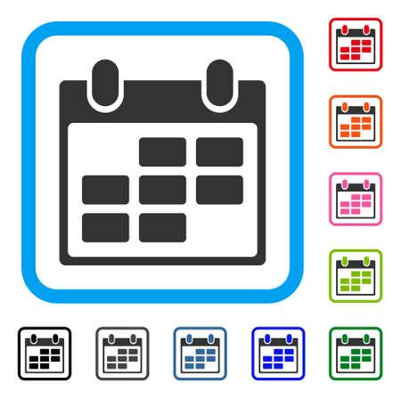 Calendar icon. Flat grey pictogram symbol inside a light blue rounded rectangle.