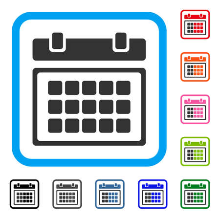 Calendar icon. Flat grey iconic symbol inside a light blue rounded square.