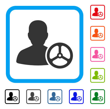 Driver person icon. Flat grey iconic symbol in a light blue rounded frame. Çizim