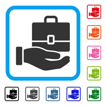Hand holding case icon. Flat grey pictogram symbol inside a light blue rounded square. Illustration