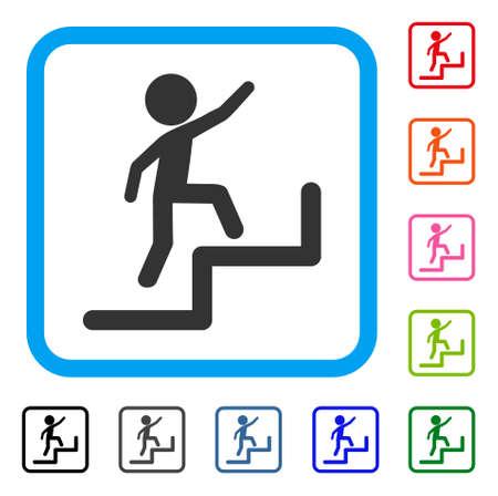Enfant intensifiant l'icône. Symbole de pictogramme gris plat dans un cadre rectangulaire arrondi bleu clair. Banque d'images - 88184720