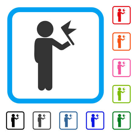 Child With Flag icon. Flat grey pictogram symbol inside a light blue rounded rectangle. Illustration