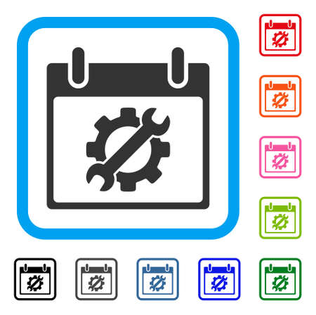 Configuration Tools Calendar Day icon. Flat grey iconic symbol in a light blue rounded square. Black, gray, green, blue, red, orange color variants of Configuration Tools Calendar Day vector. Stock Vector - 88184834