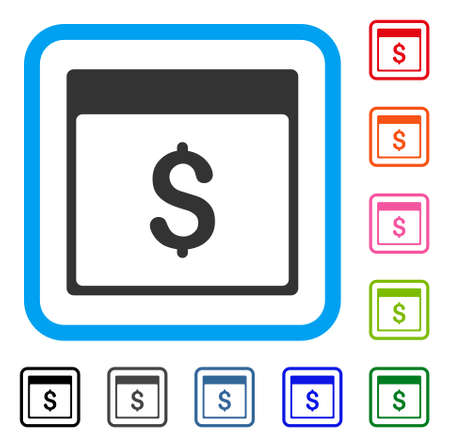 Dollar Currency Calendar Page icon. Flat grey pictogram symbol inside a light blue rounded square. Black, gray, green, blue, red, orange color variants of Dollar Currency Calendar Page vector.