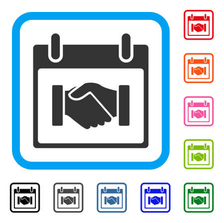 Handshake calendar day icon. Flat gray iconic symbol in a light blue rounded squared frame.