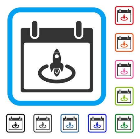 Rocket Start Calendar Day icon. Flat gray pictogram symbol inside a light blue rounded squared frame. Black, gray, green, blue, red,