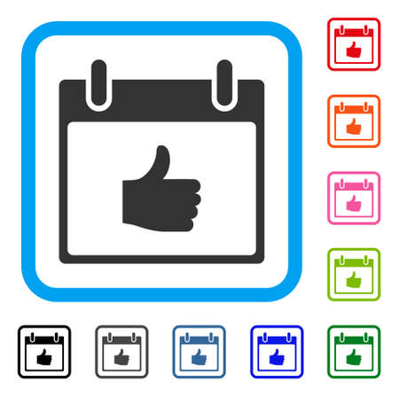 Thumb Up Calendar Day icon. Flat gray pictogram symbol in a light blue rounded square. Black, gray, green, blue, red, orange color versions of Thumb Up Calendar Day vector.
