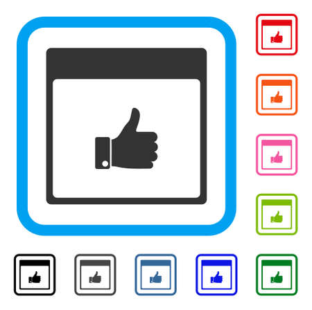 Thumb up hand calendar page icon.