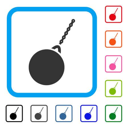 Destruction Hammer icon, design symbol inside a light blue rounded squared frame.