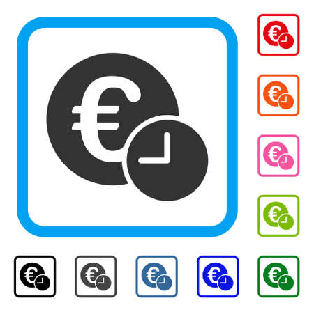 Euro Credit icon. Flat gray iconic symbol inside a light blue rounded rectangle. Black, gray, green, blue, red, orange color versions of Euro Credit vector. Designed for web and app interfaces.