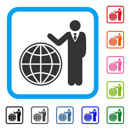 Planetary Manager icon. Flat grey pictogram symbol in a light blue rounded rectangle. Black, gray, green, blue, red, orange color additional versions of Planetary Manager vector. Illustration